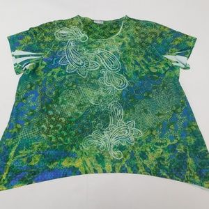 Catherines 4X Green  Crewneck Top  Cotton Blend